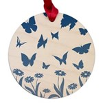Blue Butterfly Art Maple Round Ornament