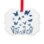 Blue Butterfly Art Picture Ornament