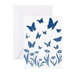 Blue Butterfly Art Greeting Cards