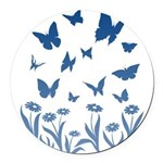 Blue Butterfly Art Round Car Magnet