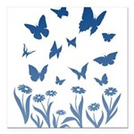 "Blue Butterfly Art Square Car Magnet 3"" x 3"""