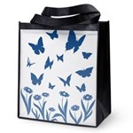 Blue Butterfly Art Reusable Grocery Tote Bag