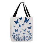 Blue Butterfly Art Polyester Tote Bag