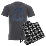 Blue Butterfly Art Men's Charcoal Pajamas