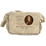 Ben Franklin Self-Love Quote Messenger Bag