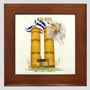 Gold Twin Towers, Eagle n Fla Framed Tile