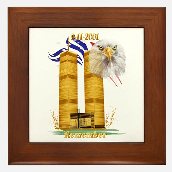 Gold Twin Towers, Eagle n Fla Framed Tile