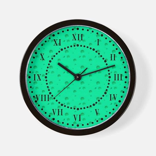 Green Cheese Look Roman Numeral Wall Clock