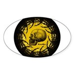skull and hand bones Sticker (Oval 10 pk)