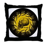 skull and hand bones Throw Pillow