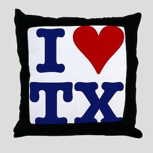 I LOVE TX Throw Pillow