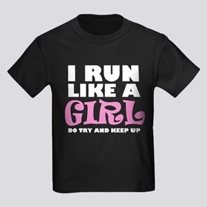'I Run Like a Girl' Kids Dark T-Shirt