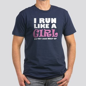 'I Run Like a Girl' Men's Fitted T-Shirt (dark)