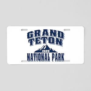 Grand Teton Old Style Blue Aluminum License Plate