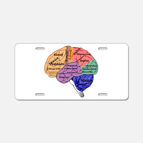 Religion on the Brain Aluminum License Plate