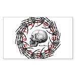 Skull and hand bones 2 Sticker (Rectangle 50 pk)