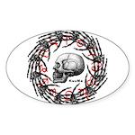Skull and hand bones 2 Sticker (Oval 50 pk)