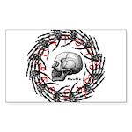Skull and hand bones 2 Sticker (Rectangle)