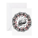 Skull and hand bones 2 Greeting Card