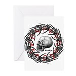 Skull and hand bones 2 Greeting Cards (Pk of 10)