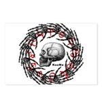 Skull and hand bones 2 Postcards (Package of 8)