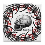 Skull and hand bones 2 Tile Coaster