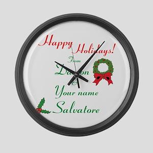Happy Holidays, Damon & You Large Wall Clock