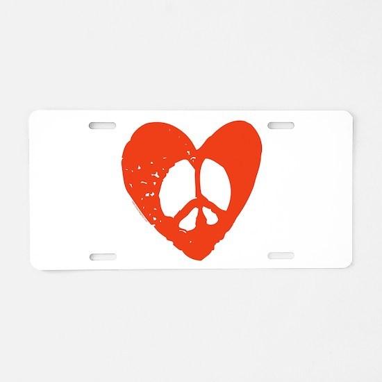 Peace & Love Aluminum License Plate