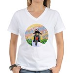 Guardian Blessing 2 Riders Women's V-Neck T-Shirt