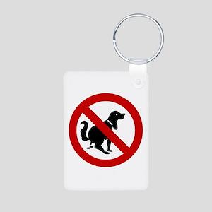 No Dog Poop Sign Aluminum Photo Keychain