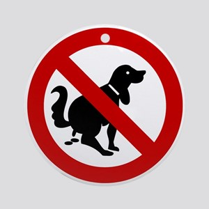 No Dog Poop Sign Ornament (Round)