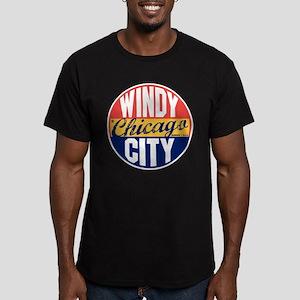Chicago Vintage Label Men's Fitted T-Shirt (dark)