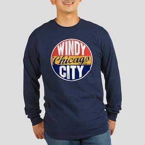 Chicago Vintage Label Long Sleeve Dark T-Shirt