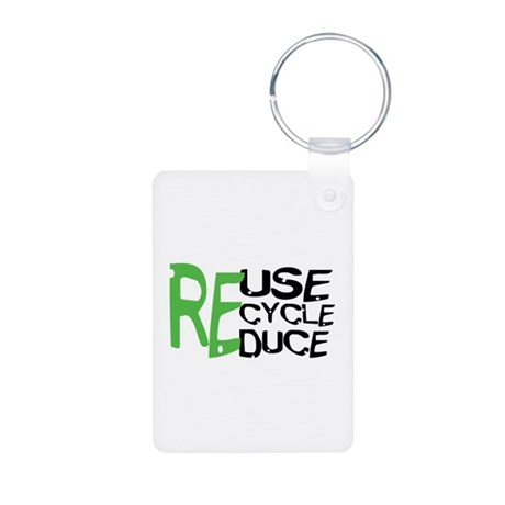 Reuse Recycle Reduce Aluminum Photo Keychain
