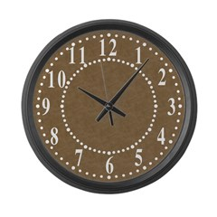 Brown Parchment Look Large Wall Clock