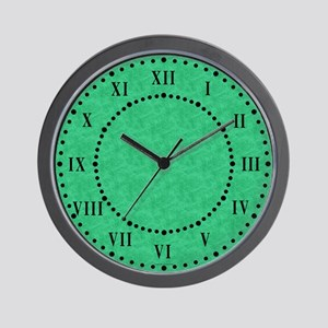 Green Parchment Roman Numeral Wall Clock