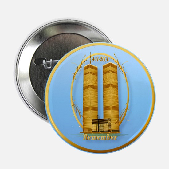 "Gold Twin Towers Oval-lettere 2.25"" Button"