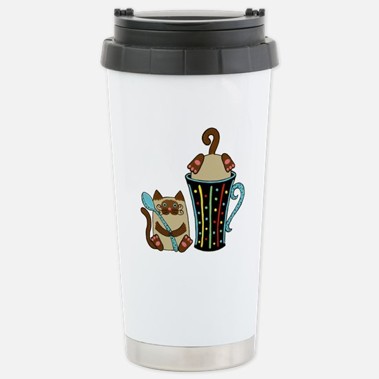 Siamese Kitty Cats Stainless Steel Travel Mug