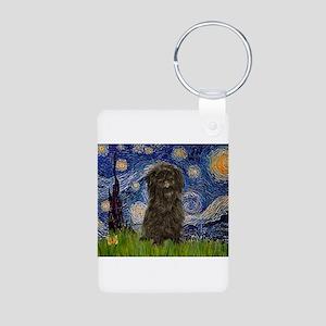 Starry Night / Affenpinscher Aluminum Photo Keycha