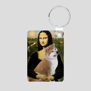 Mona / Akita (br&w) Aluminum Photo Keychain