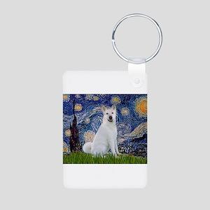 Starry Night - Akita 2 Aluminum Photo Keychain