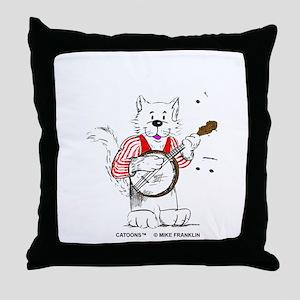 Banjo Cat Throw Pillow