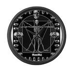 Leonardo da skull Large Wall Clock