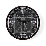 Leonardo da skull Wall Clock