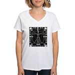 Leonardo da skull Women's V-Neck T-Shirt