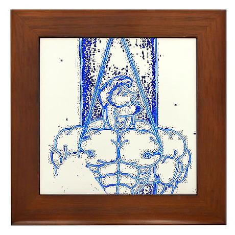 TREE BOUND_DARK BLUE ON BLK Framed Tile