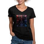 Leonardo da skull 2 Women's V-Neck Dark T-Shirt