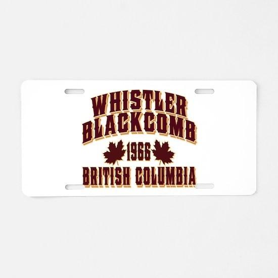 Whistler Old Style Crimson Aluminum License Plate