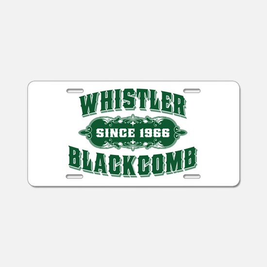 Whistler Blackcomb Old Green Aluminum License Plat