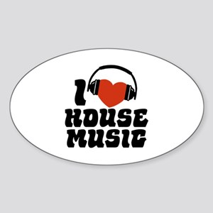 I Love House Music Sticker (Oval)